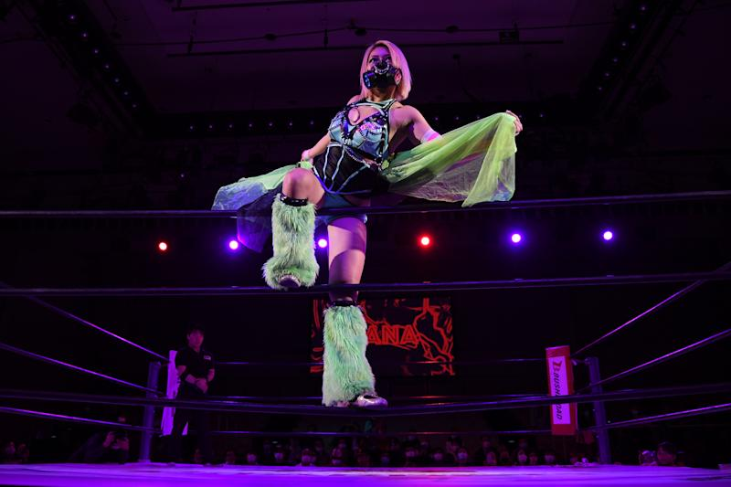 Hana Kimura looks on during the Women's Pro-Wrestling Stardom 'Cinderella Tournament' at Korakuen Hall on March 24, 2020 in Tokyo, Japan.