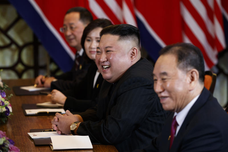 North Korean leader Kim Jong Un smiles during a meeting with President Donald Trump on Feb. 28, 2019, in Hanoi, Vietnam.