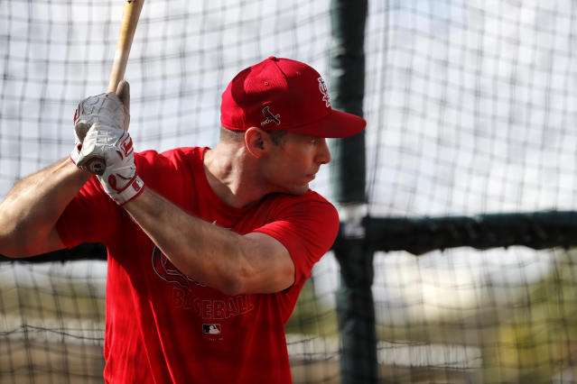 St. Louis Cardinals' Paul Goldschmidt takes his turn in the batting cage during spring training baseball practice Wednesday, Feb. 12, 2020, in Jupiter, Fla. (AP Photo/Jeff Roberson)