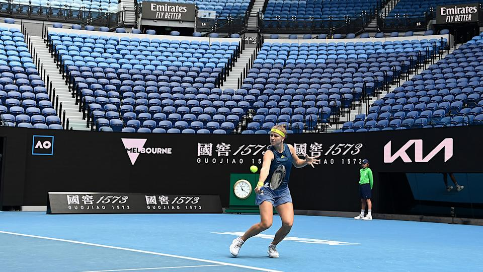 Karolina Muchova, pictured here playing in front of an empty crowd at the Australian Open.