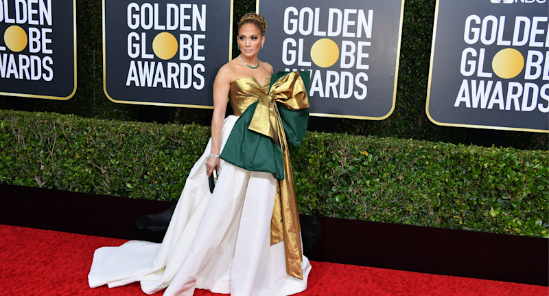 Jennifer Lopez in a Maison Valentino dress at the 2020 Golden Globes