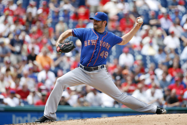 New York Mets' Jonathon Niese pitches during the third inning of a baseball game against the Philadelphia Phillies, Monday, Aug. 11, 2014, in Philadelphia. (AP Photo/Matt Slocum)
