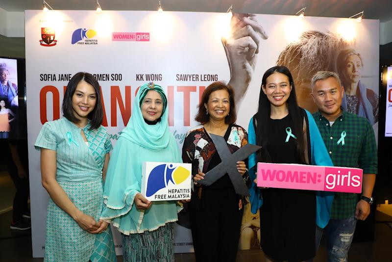 Carmen Soo, HFM President Dr Rosmawati Mohamed, guest of honour Datin Paduka Marina Mahathir, WOMEN:girls President and founder Low Ngai Yuen, and KK Wong announced the collaboration to raise awareness about street communities and hepatitis infection. — Picture courtesy of WOMEN:girls