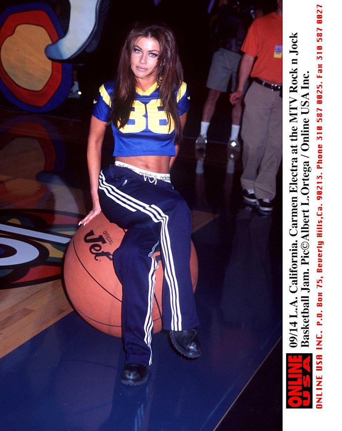 <p>Fun fact: Carmen Electra briefly hosted MTV's <em>Singled Out. </em>Here she is perched atop a normal sized basketball, k thx!</p>