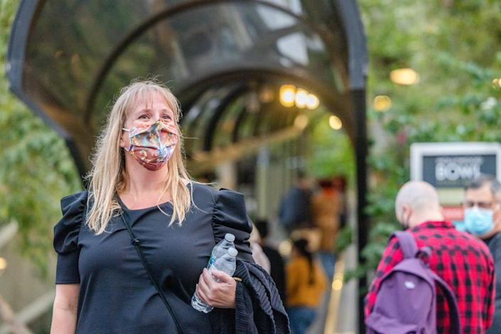 Michelle Hilborne, a special education aide from Huntington Beach, at the L.A. Phil's reopening of the Hollywood Bowl.