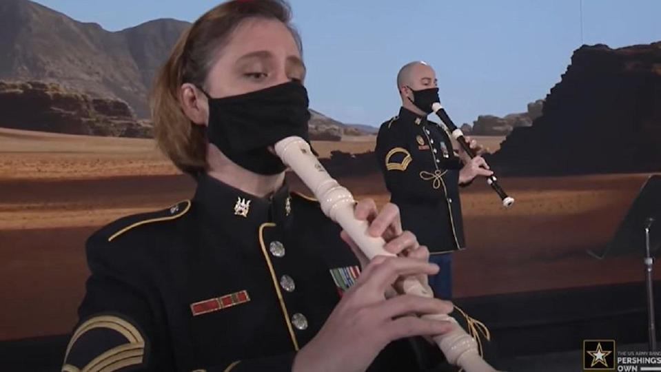 The U.S. Army Band, known as Pershing's Own, performs the Mandalorian theme.
