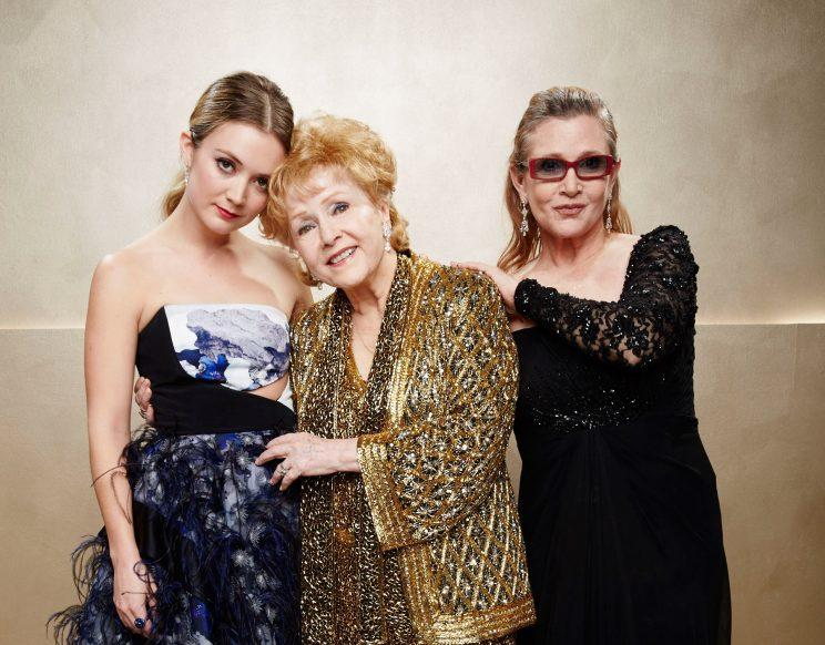 LOS ANGELES, CA - JANUARY 25: (Exclusive Coverage) Billie Lourd, Carrie Fisher and Debbie Reynolds pose during TNT's 21st Annual Screen Actors Guild Awards at The Shrine Auditorium on January 25, 2015 in Los Angeles, California. 25184_016 (Photo by Kevin Mazur/WireImage)