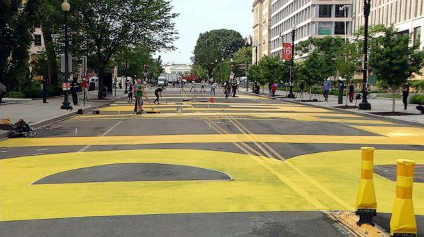 PHOTO: Large yellow letters in support of the Black Live Matter movement are painted on 16th street, just blocks from the White House, June 5, 2020, in Washington, D.C. (WJLA)