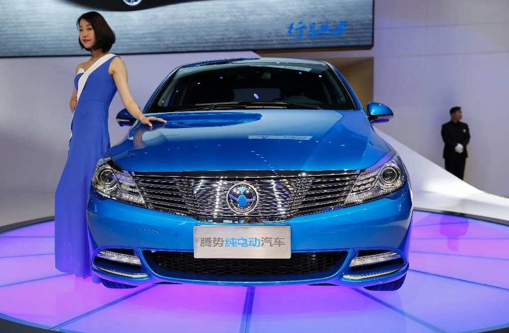 A DENZA EV car displayed at the Shanghai Auto Show on April 19, 2017. Major manufacturers are announcing plans to boost their electric vehicle offerings in China as the government considers a quota plan for producing 'new-energy' cars (AFP Photo/STR)