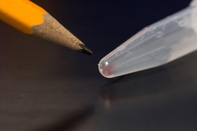 Pencil and test tube of DNA