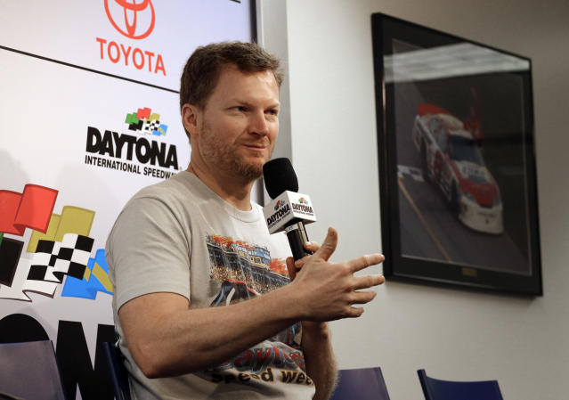 "<a class=""link rapid-noclick-resp"" href=""/nascar/sprint/drivers/88/"" data-ylk=""slk:Dale Earnhardt Jr."">Dale Earnhardt Jr.</a> answers a question from the media during a news conference before the NASCAR Daytona 500 Cup series auto race at Daytona International Speedway in Daytona Beach, Fla., Sunday, Feb. 18, 2018. (AP Photo/Terry Renna)"