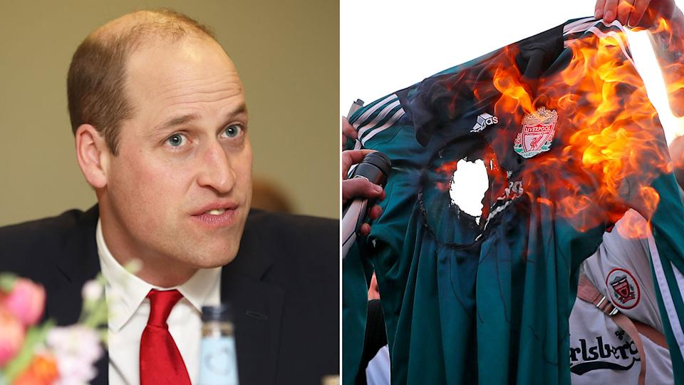 Pictured left is Prince William, with fans burning a Liverpool jersey on the right.