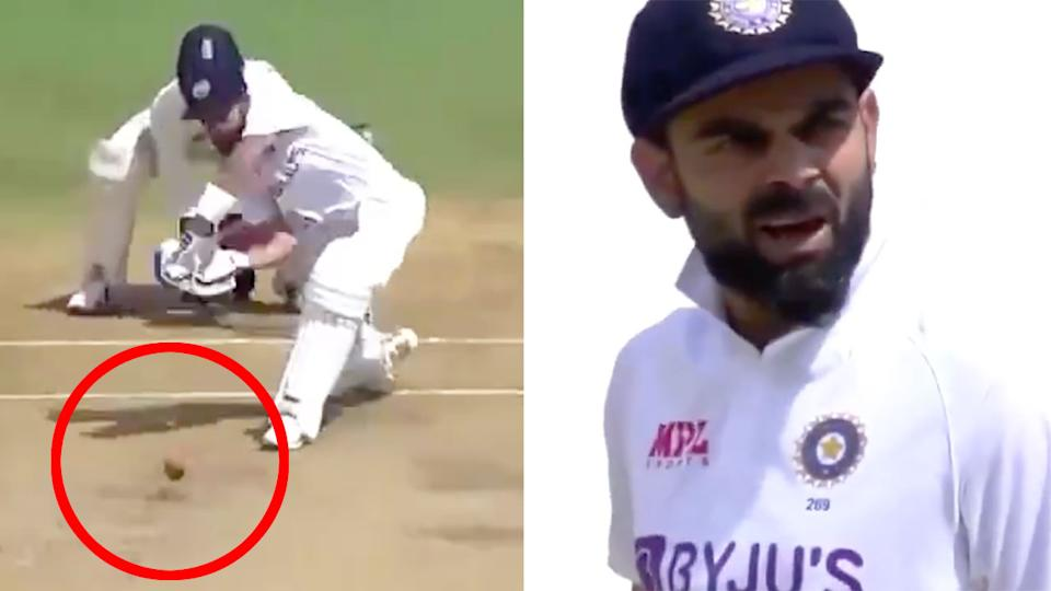 Pictured here, Virat Kohli looks shocked after being clean bowled by Moeen Ali.