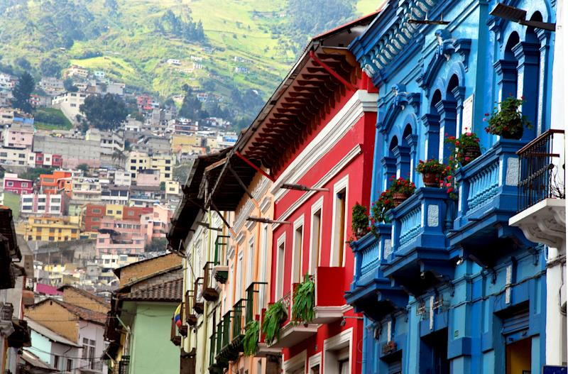 View of the historical part of Quito in Ecuador