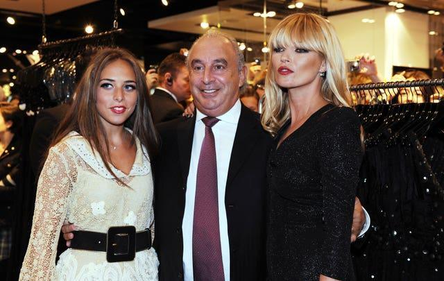 Kate Moss with Sir Philip Green and his daughter Chloe