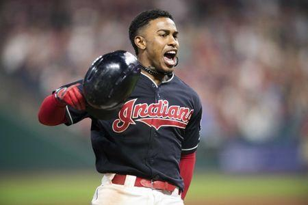 Aug 8, 2018; Cleveland, OH, USA; Cleveland Indians shortstop Francisco Lindor (12) rounds the bases after hitting a game-winning three-run home run during the ninth inning against the Minnesota Twins at Progressive Field. Ken Blaze-USA TODAY Sports