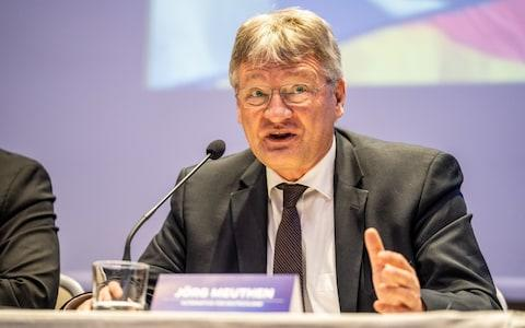 Jorg Muethen, co-leader of Alternative for Germany (AfD) at the launch in Milan - Credit: Bloomberg