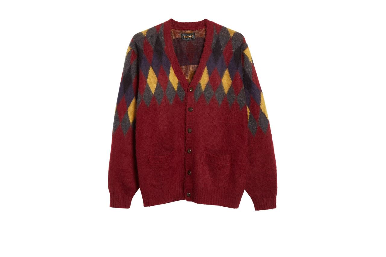 """$235, Nordstrom. <a href=""""https://shop.nordstrom.com/s/beams-plus-intarsia-diamond-cardigan/5441302/full?origin=keywordsearch-personalizedsort&breadcrumb=Home%2FAll%20Results&color=burgundy"""">Get it now!</a>"""