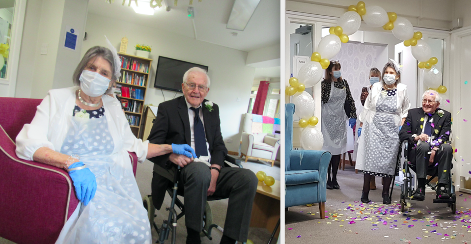 Peter Smirles and Jean Smirles have married at his care home after dating for 26 years. (SWNS)