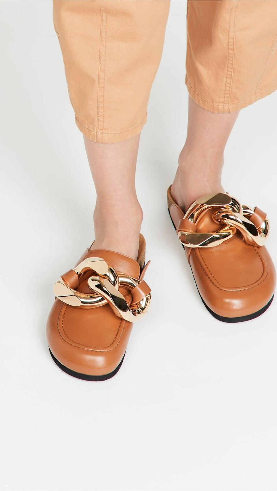 <p>These <span>JW Anderson Chain Loafers</span> ($645) are dramatic in the best possible way. The gold buckle detail adds an unexpected touch of polish, and makes it stand out.</p>