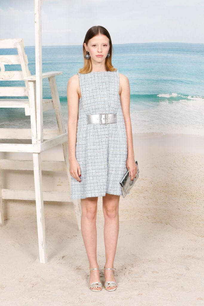 <p>Actress Mia Goth wore a bouclé-effect dress by the French fashion house for the SS19 show at the Grand Palais.<em> [Photo: Getty]</em> </p>