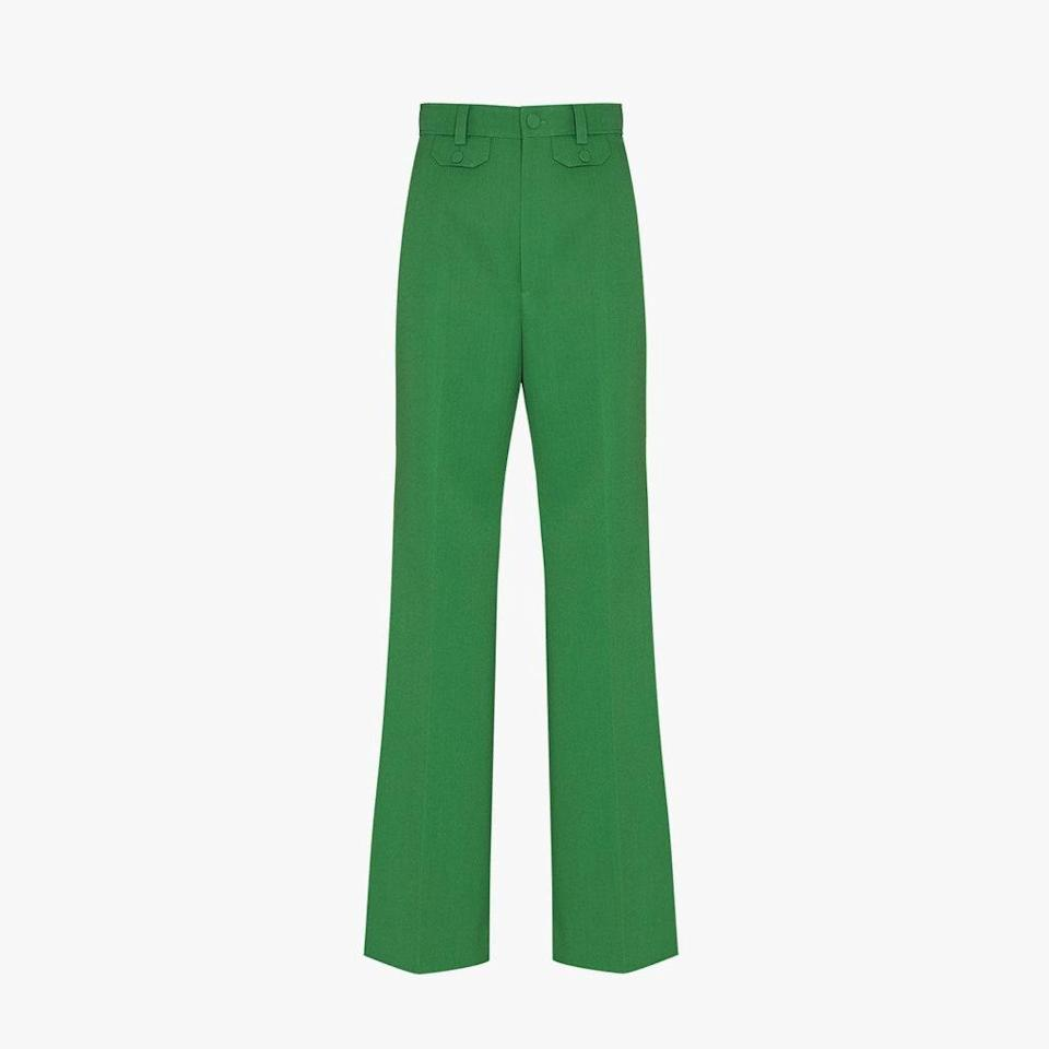 "$1300, BROWNS. <a href=""https://www.brownsfashion.com/shopping/flared-high-waist-trousers-16116912?utm_source=google&utm_medium=shopping-organic&utm_campaign=us-en-usd&gclid=CjwKCAjw6fCCBhBNEiwAem5SO8mUGTaPJ_SH_Zl4v0FnIsHqyxJ-nLe-ksUfPu5um0zGMPZqJugXfRoC2b4QAvD_BwE"" rel=""nofollow noopener"" target=""_blank"" data-ylk=""slk:Get it now!"" class=""link rapid-noclick-resp"">Get it now!</a>"