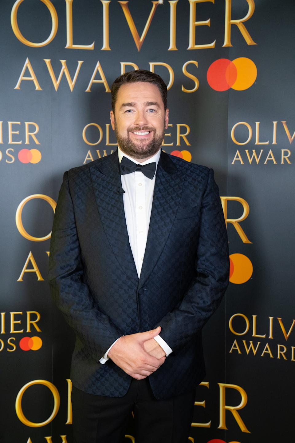 LONDON, ENGLAND - OCTOBER 20: Jason Manford poses during the Olivier awards at the London Palladium on October 20, 2020 in London, England. (Photo by Society of London Theatre/Getty Images)
