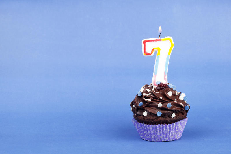 Cupcake with numbered candle.