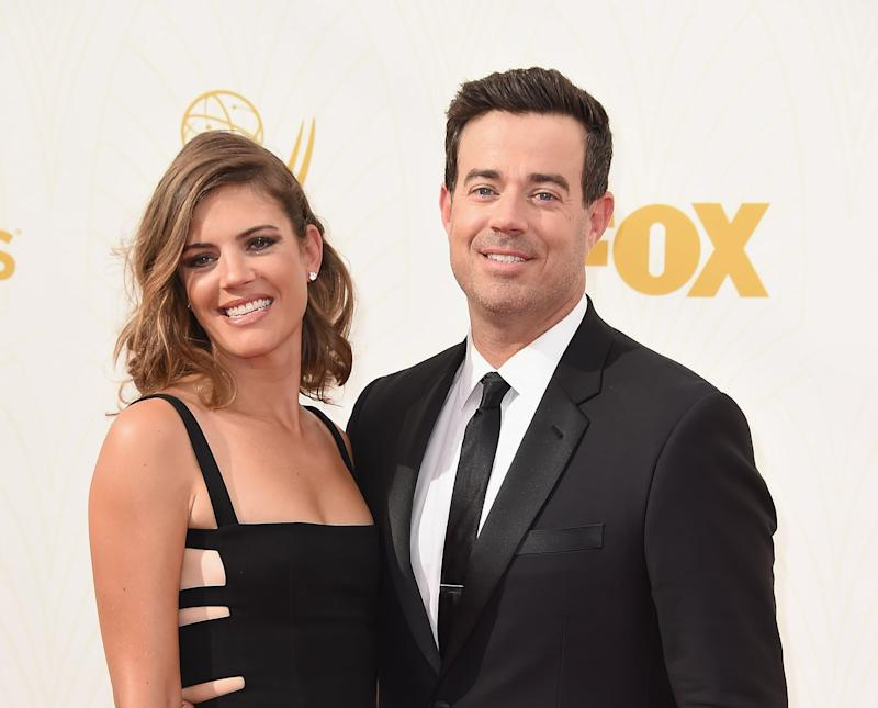 LOS ANGELES, CA - SEPTEMBER 20: Siri Pinter (L) and TV personality Carson Daly attend the 67th Annual Primetime Emmy Awards at Microsoft Theater on September 20, 2015 in Los Angeles, California. (Photo by Steve Granitz/WireImage)