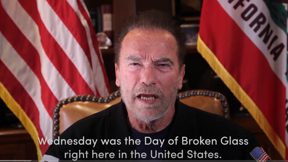 "This Sunday, Jan. 10, 2021, image from a video released by Schwarzenegger shows former Republican California Gov. Arnold Schwarzenegger delivering a public message. Schwarzenegger compared the mob that stormed the U.S. Capitol to the Nazis and called President Donald Trump a failed leader who ""will go down in history as the worst president ever."" (Frank Fastner/Arnold Schwarzenegger via AP)"