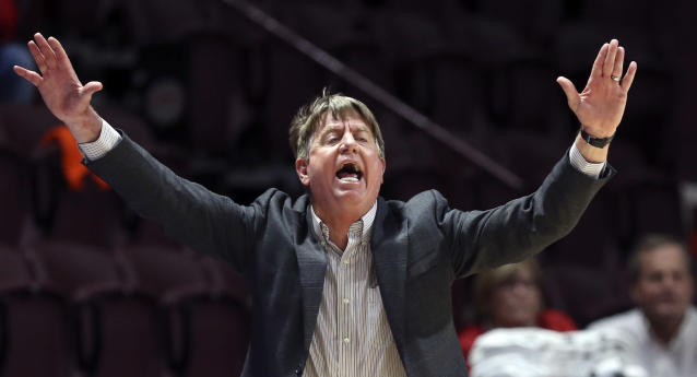 North Carolina State head coach Wes Moore reacts in the second half of an NCAA college basketball game against Virginia Tech, Thursday, Feb. 6, 2020, in Blacksburg, Va. (Matt Gentry/The Roanoke Times via AP)