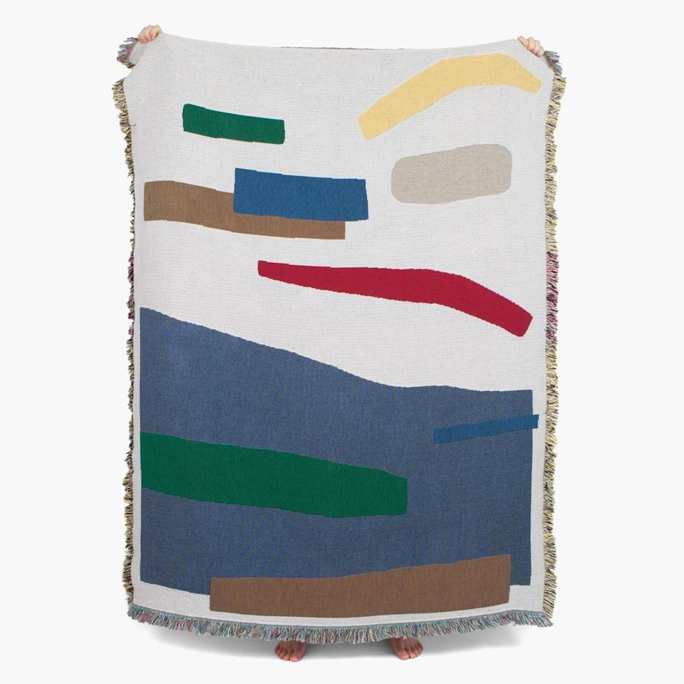 "<a rel=""nofollow"" href=""https://slowdownstudio.com/collections/frontpage/products/september-throw"" rel=""nofollow"">SHOP NOW</a>: September Throw by Katherine Plumb for Slowdown Studio, $230"
