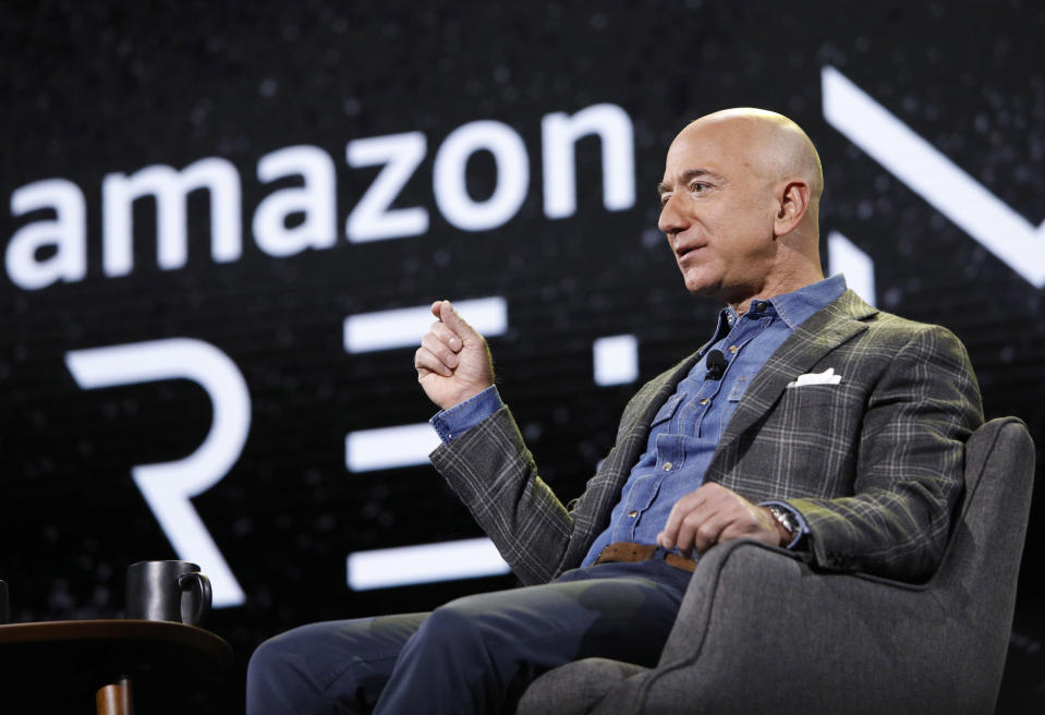 FILE - In this June 6, 2019, Amazon CEO Jeff Bezos speaks at the the Amazon re:MARS convention in Las Vegas. Amazon said Tuesday, Feb. 2, 2021, that Bezos is stepping down as CEO later in the year, a role he's had since he founded the company nearly 30 years ago. (AP Photo/John Locher, File)