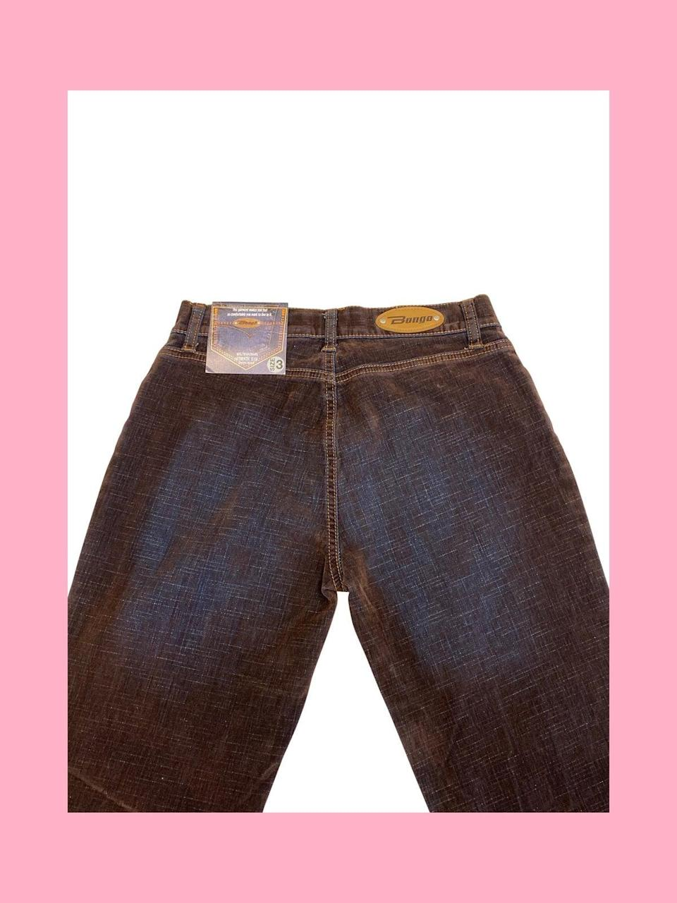 """<p>If you're a fan of denim brands popular in the '90s and 2000s such as Miss Me, True Religion, and Rock &amp; Republic, Giant Vintage is your hot spot. These back pocket-less <span>Let Me B """"Bongo"""" Velvet Jeans</span> ($52) are still available in both a size 0 and a size 3.</p>"""