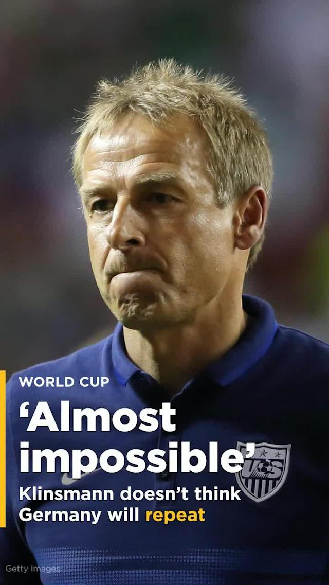 "Jurgen Klinsmann believes that Germany's 2018 World Cup squad is every bit as good as than the one that hoisted the trophy four years ago, but he fears that Die Mannschaft will still find it ""almost impossible"" to repeat as champions this summer in Russia."