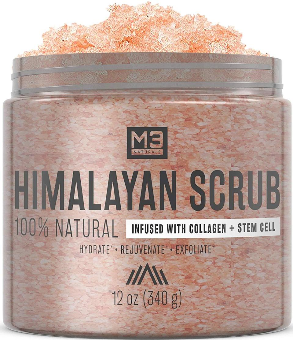 """<h3>M3 Naturals Himalayan Salt Scrub</h3><br>If you're looking for a tried and true body scrub, look no further than this top-bought Himalayan salt jar off Amazon that reviewers describe as a """"Not an ordinary scrub!"""" and """"The Best exfoliator you will ever find!!!!"""" — it's packed with skin-nourishing lychee fruit and almond essential oils. Better hop to carting it if you want to score the most wanted gem while it's available as a 42%-off Prime Day Lightning deal! <br><br><strong>4.7 out of 5 stars and 1,695 reviews</strong><br><br><strong>m3 naturals</strong> Himalayan Salt Scrub, 12 oz, $, available at <a href=""""https://amzn.to/2BaobVD"""" rel=""""nofollow noopener"""" target=""""_blank"""" data-ylk=""""slk:Amazon"""" class=""""link rapid-noclick-resp"""">Amazon</a>"""