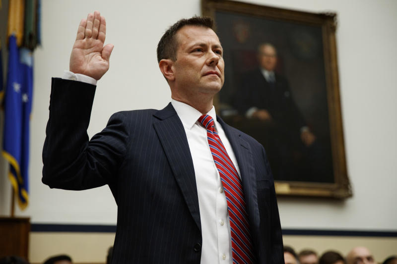 "FBI Deputy Assistant Director Peter Strzok is sworn in before the the House Committees on the Judiciary and Oversight and Government Reform during a hearing on ""Oversight of FBI and DOJ Actions Surrounding the 2016 Election,"" on Capitol Hill, Thursday, July 12, 2018, in Washington. (AP Photo/Evan Vucci)"