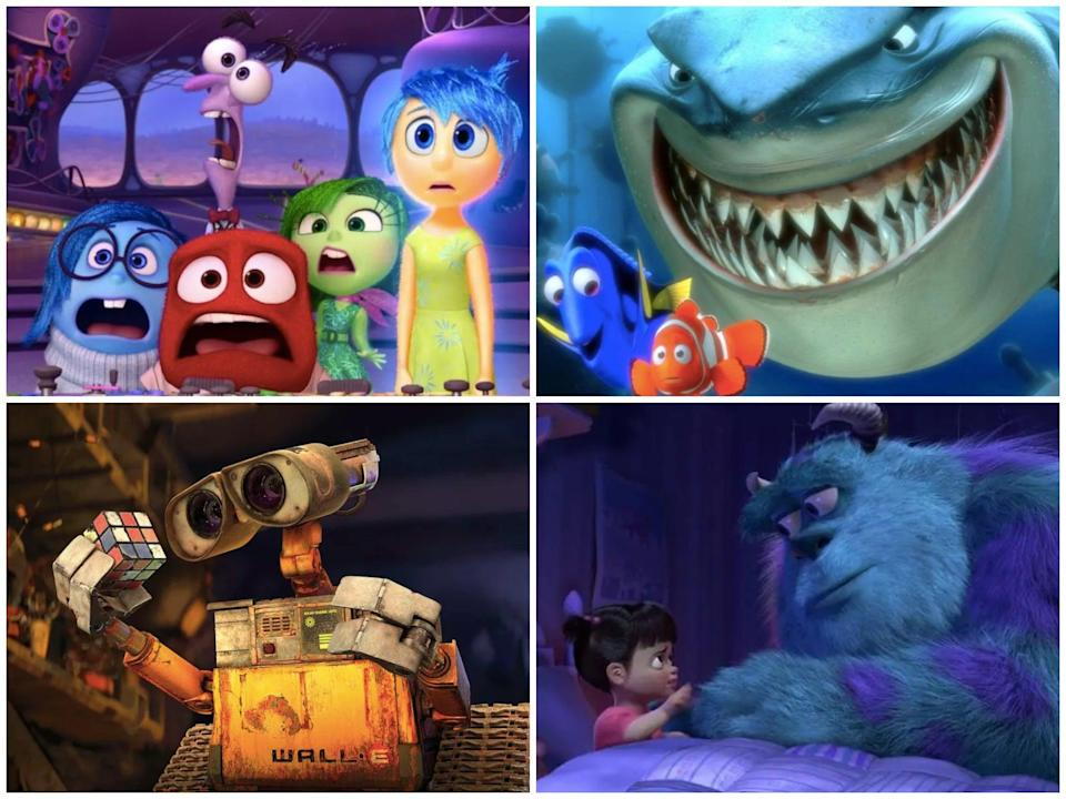 Clockwise from top left: Inside Out, Finding Nemo, WALL-E and Monsters, Inc (Pixar)