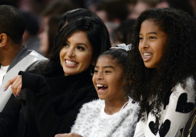 Vanessa Laine Bryant and daughters Gianna Bryant and Natalia Bryant watch Kobe Bryant during a game against the Indiana Pacers at Staples Center November 29, 2015, in Los Angeles, California. (Photo by Kevork Djansezian/Getty Images)