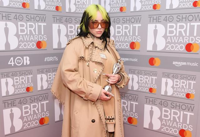 Billie Eilish, winner of the Best International Female Solo Artist award, poses in the winners room at The BRIT Awards 2020 at The O2 Arena on February 18, 2020 in London, England. (Photo by David M. Benett/Dave Benett/Getty Images)