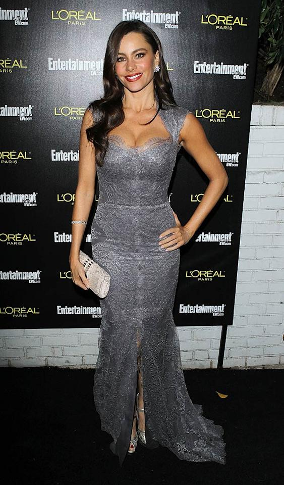 """Also on-hand at the <i>EW</i> event ... """"Modern Family"""" hot mama Sofia Vergara, whose metallic masterpiece hugged her signature curves in all the right places. Michael Tran/<a href=""""http://www.filmmagic.com/"""" target=""""new"""">FilmMagic.com</a> - January 29, 2011"""