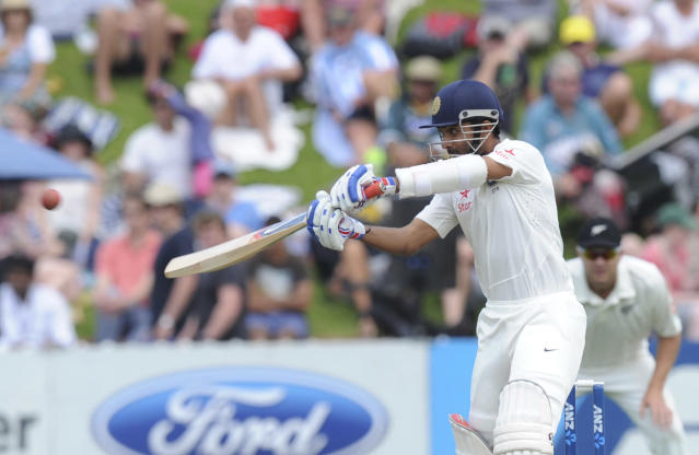 India's Ajinkya Rahane batting against New Zealand on the second day of the second cricket test in Wellington, New Zealand, Saturday, Feb. 15, 2014. (AP Photo/SNPA, Ross Setford) NEW ZEALAND OUT