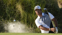 Hideki Matsuyama, of Japan, hits out of the bunker on the 15th hole during the second round of the PGA Championship golf tournament on the Ocean Course Friday, May 21, 2021, in Kiawah Island, S.C. (AP Photo/David J. Phillip)