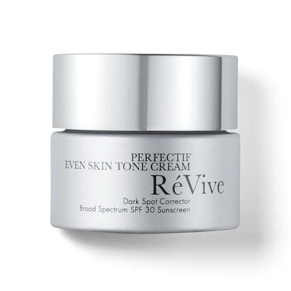 """<p>RéVive's Perfectif Even Skin Tone Cream Dark Spot Corrector Broad Spectrum SPF 30 is the <a href=""""https://www.allure.com/video/watch/allure-editor-s-9-step-morning-skincare-routine-in-real-time?mbid=synd_yahoo_rss"""" rel=""""nofollow noopener"""" target=""""_blank"""" data-ylk=""""slk:favorite"""" class=""""link rapid-noclick-resp"""">favorite</a> of <em>Allure</em> editor-in-chief Michelle Lee, so you <em>know</em> it's worth adding to your wishlist. The SPF 30 here fights off free radical damage, while a proprietary dark spot correcting complex helps even out any previous infractions. You says you can't fix the past and the future at once?</p> <p><strong>$275</strong> (<a href=""""https://shop-links.co/1698628372993003720"""" rel=""""nofollow noopener"""" target=""""_blank"""" data-ylk=""""slk:Shop Now"""" class=""""link rapid-noclick-resp"""">Shop Now</a>)</p>"""