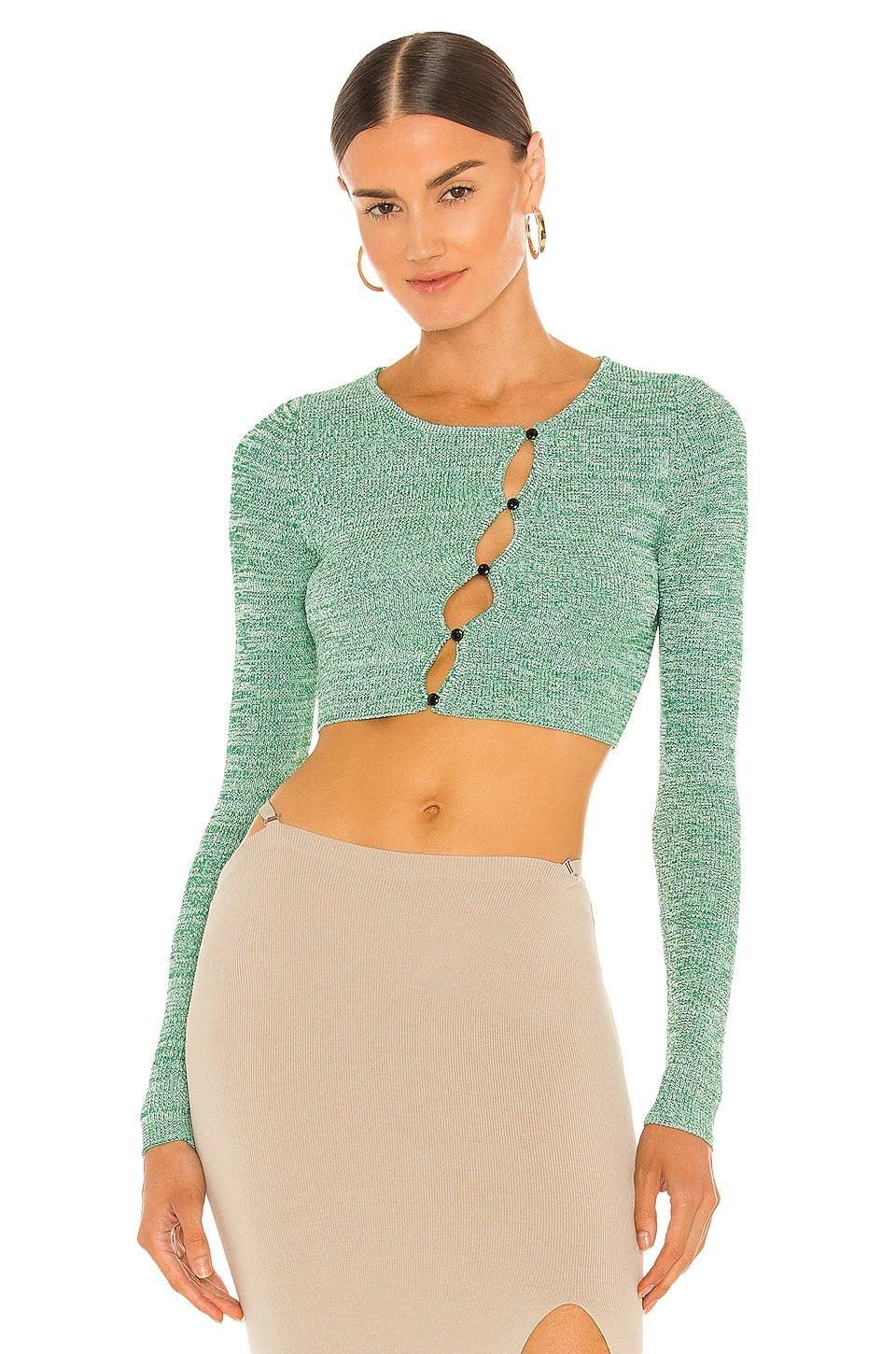 <p>This <span>Aya Muse Maggie Knit Cardigan Top</span> ($340) is sexy and fun. It's a great summer to fall transition piece, and we love the seafoam green color.</p>