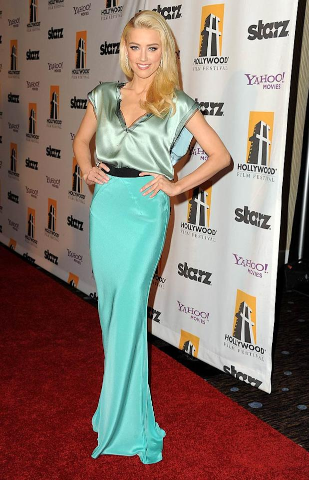 "Also seen sporting a bold hue (or two!) was actress Amber Heard (""The Rum Diary""), who exuded glamour at the 15th Annual Hollywood Film Awards in a mint-and-aqua Roksandra Ilincic getup and sideswept 'do. (10/24/11)"