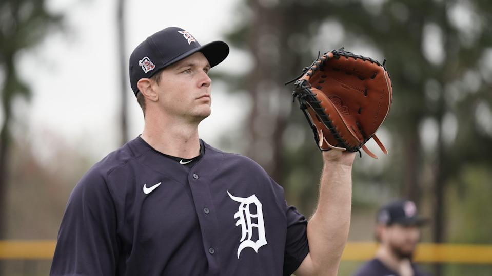 Detroit Tigers catcher Grayson Greiner plays catch Feb. 17, 2021, the first day of spring training for pitchers and catchers in Lakeland, Florida.