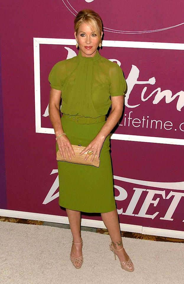 """And finally, Christina Applegate looked awesome in an asparagus-colored Christian Dior ensemble, nude strappy sandals, and a cute coif. Scott Kirkland/<a href=""""http://www.infdaily.com"""" target=""""new"""">INFDaily.com</a> - September 24, 2009"""