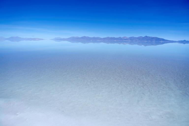 Aerial view of the flooded southern zone of the Uyuni Salt Flat, Bolivia