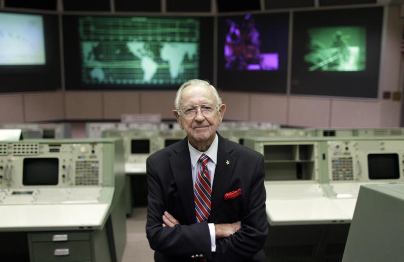FILE - This Tuesday, July 5, 2011, file photo shows NASA Mission Control founder Chris Kraft in the old Mission Control at Johnson Space Center in Houston. Kraft, the founder of NASA's mission control, died Monday, July 22, 2019, just two days after the 50th anniversary of the Apollo 11 moon landing. He was 95. (AP Photo/David J. Phillip, File)